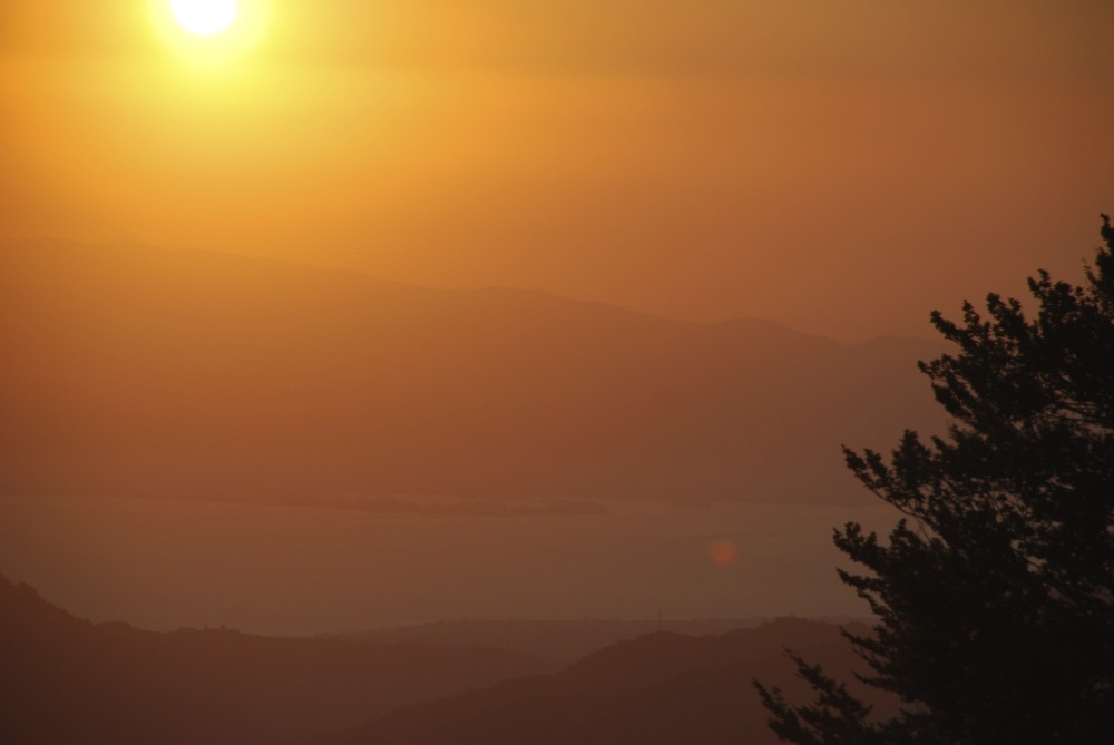 A sunset view from mountains above Reggio Calabria
