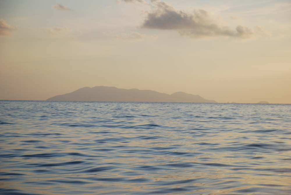 Eolie islands at sunset seen from mainland Italy