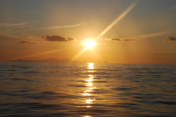 A sunset over Eolie islands as seen from mainland