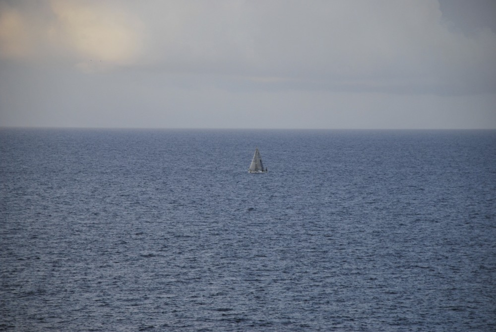 a boat in the middle of the sea in Lampedusa