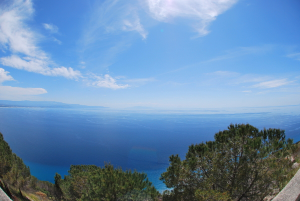 Th sea as seen from Calabria on a summer day