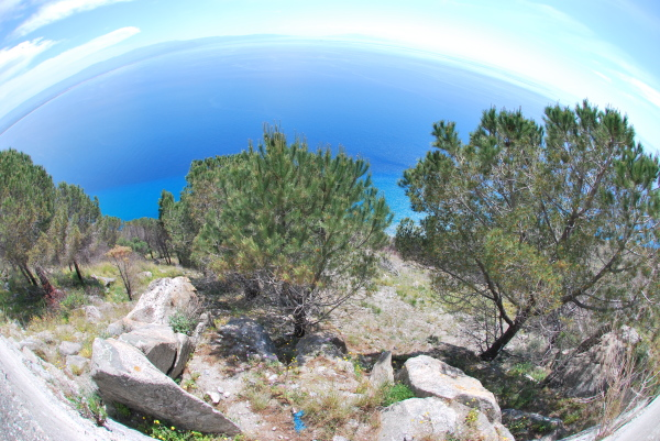 A fisheye view of Capo Vaticano, Italy
