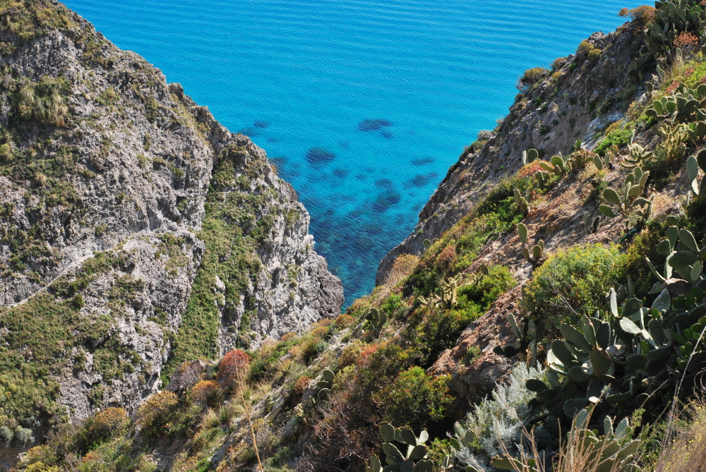 Mountains right above the sea in Calabria, Italy