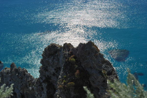A blue and green image of the Mediterranean Sea