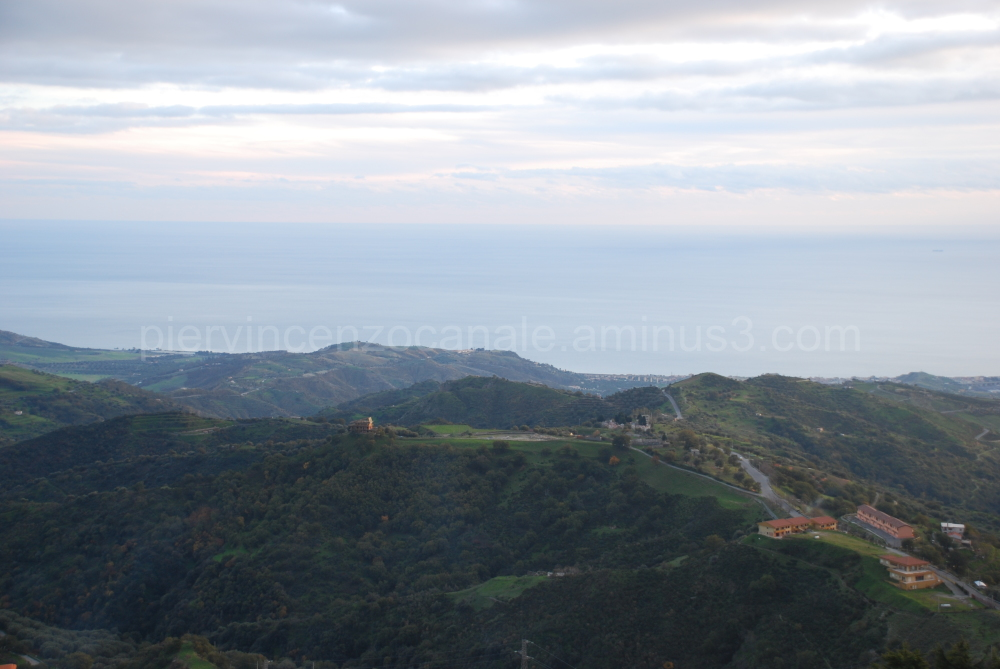 A panorama of the hills and the sea. Bova, Italy.