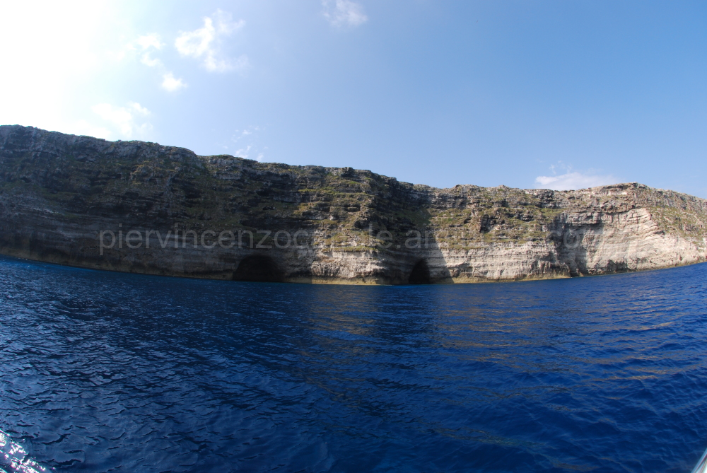 The island of Lampedusa as seen from the sea