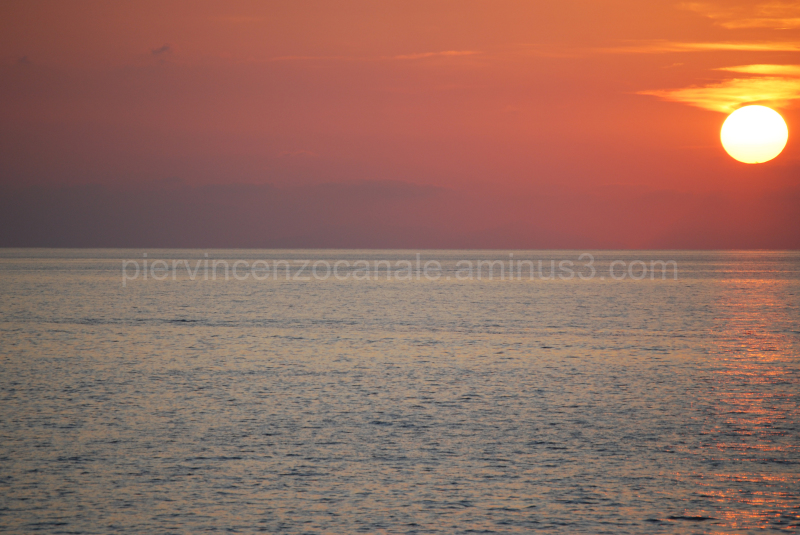 Aeolian islands as seen at sunset from Italy.