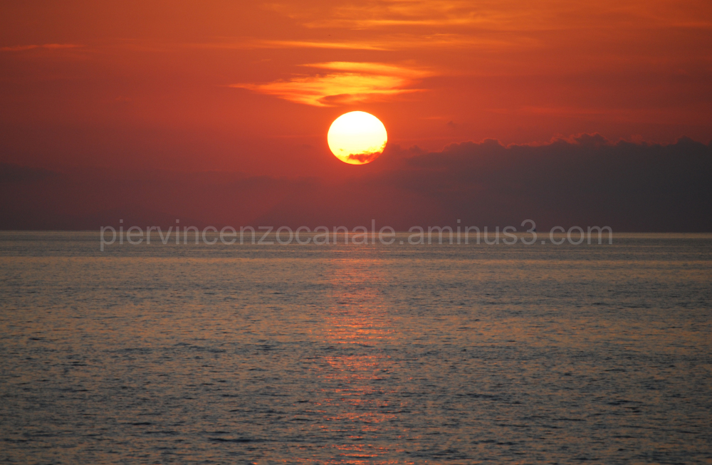 Sunset over the island of Stromboli