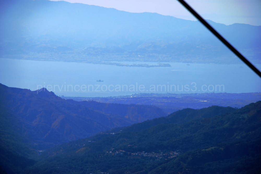 Messina as seen from the mountain in Calabria.
