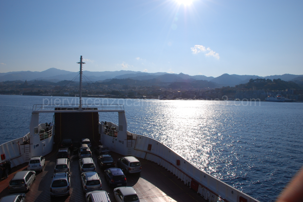 A ferry boat links two coasts in southern Italy.