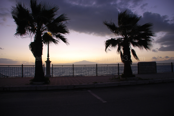 A view of volcano Etna in between two palm trees.