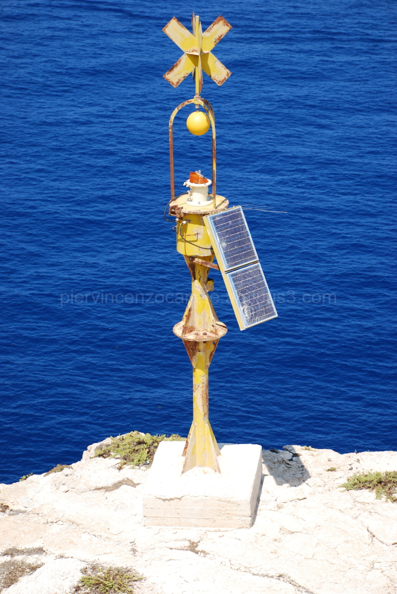 A view of a light in Lampedusa, Italy.