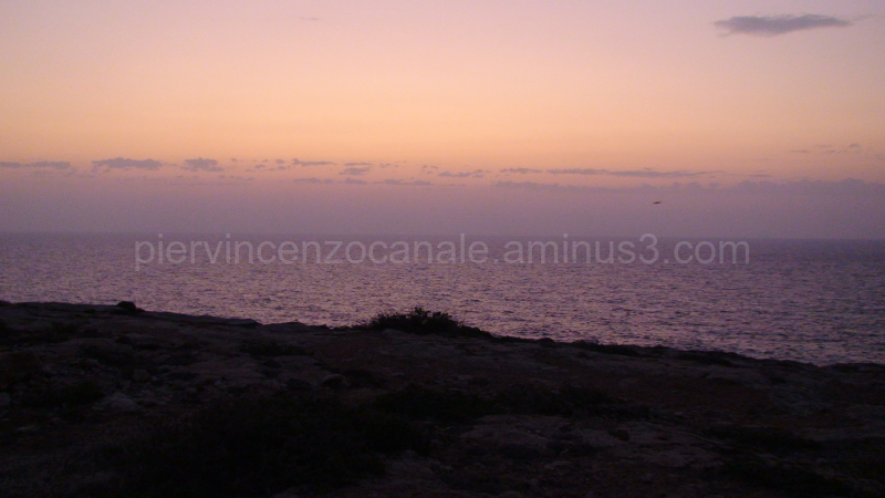 A view of a sunset from Lampedusa, Europe.