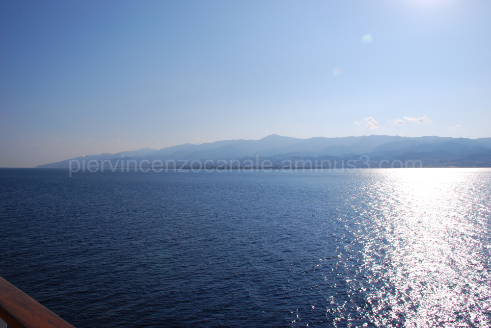 A view of Sicily from the detroit of Messina,Italy