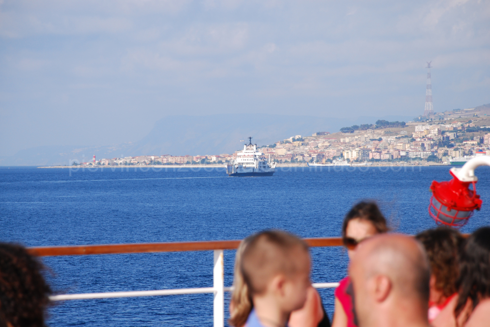 A view of a ferry boat in Messina's Strait.