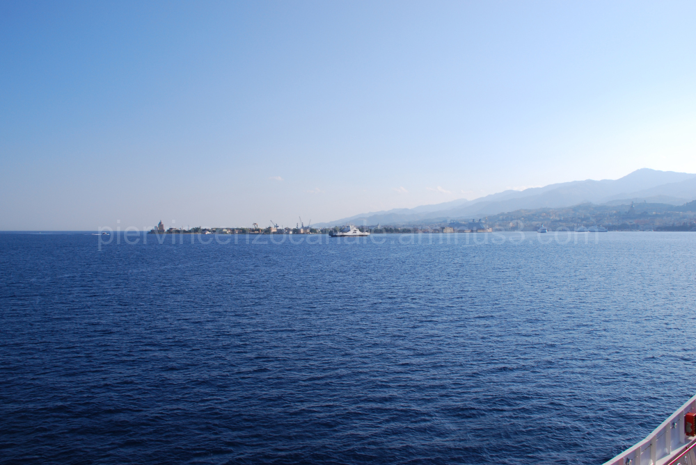 A view of the sea in front of Messina, Italy.