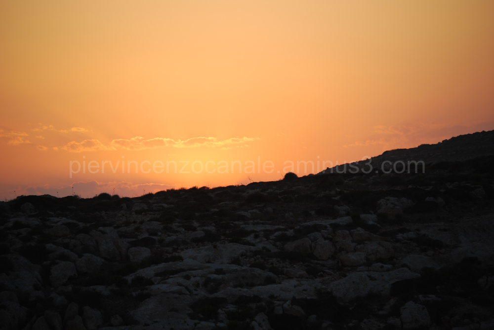 A view of a sunset from Lampedusa, Italy, Europe.
