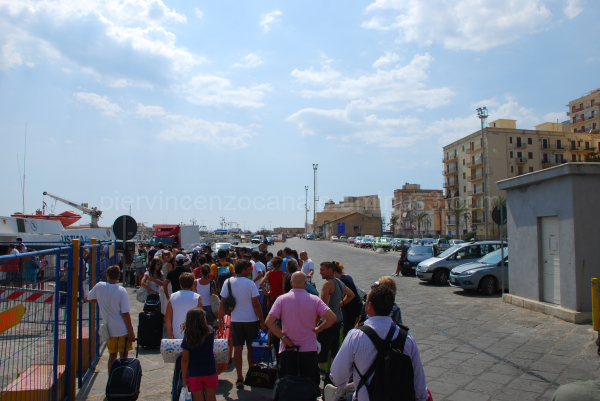 Summer 2009. Queue for boat to Lampedusa.