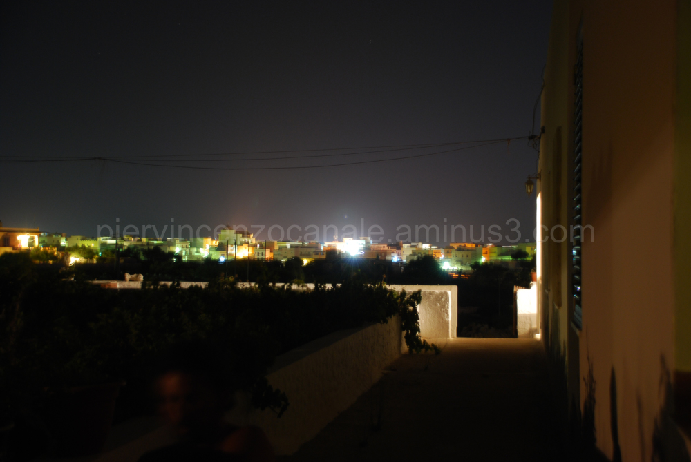 View of the city of Lampedusa at night.