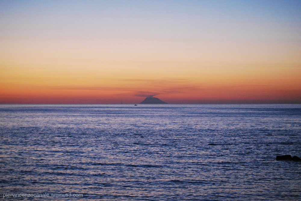A view of the island of Stromboli from mainland.