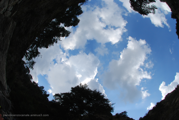 The summer blue sky of Aspromonte, Italy.