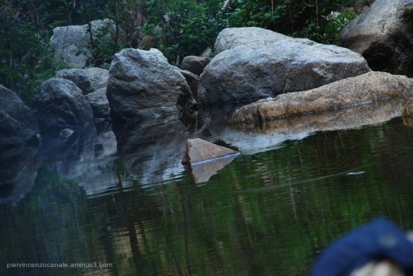 Rocks over the water in Aspromonte, Italy.