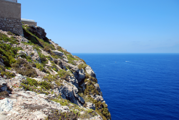 Rocks of Lampedusa, Italy over the sea