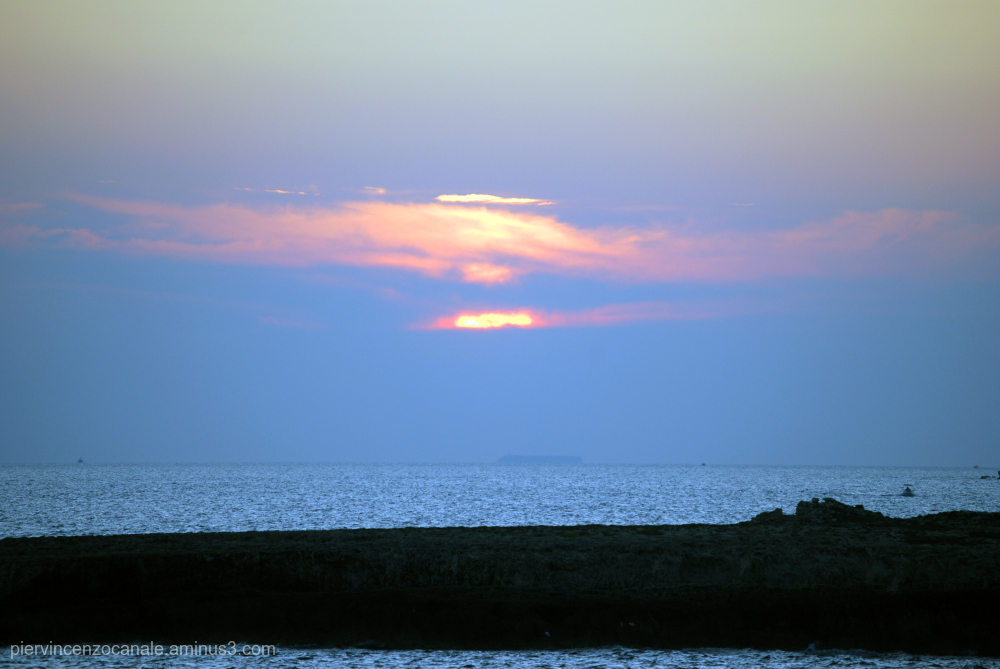 Sunset in blue from Lampedusa, Italy.