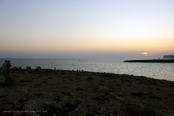 landscape and nature of Lampedusa at sunset.