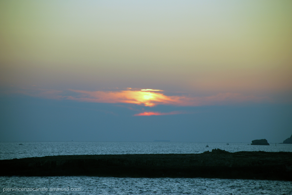 Blue and green sunset from Lampedusa.