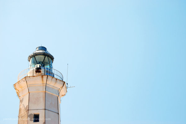 Lighthouse close-up view. Lampedusa, Italy.
