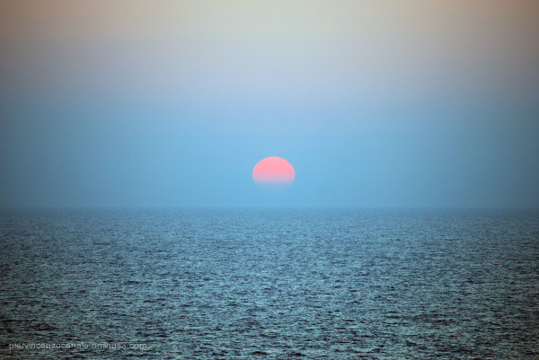 Sunset as seen from Lampedusa, Italy. Summer 2009.