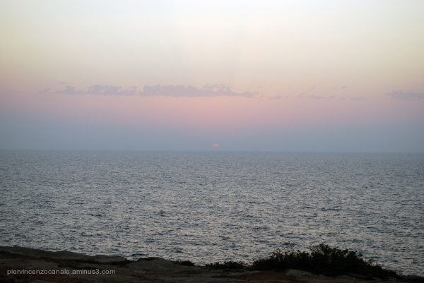 Sunset on a cloudy day in Lampedusa. Summer 2009.