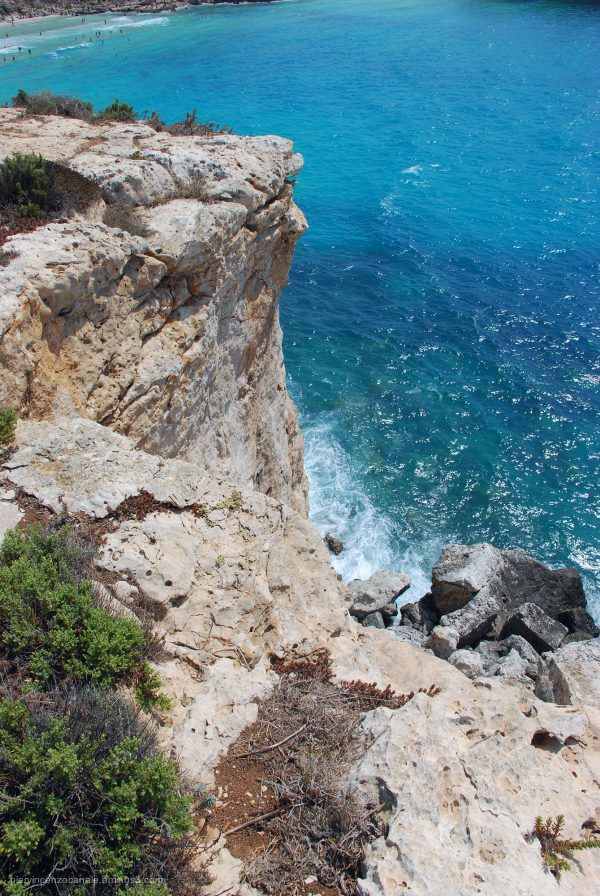 View of the coastline of Lampedusa, Italy.