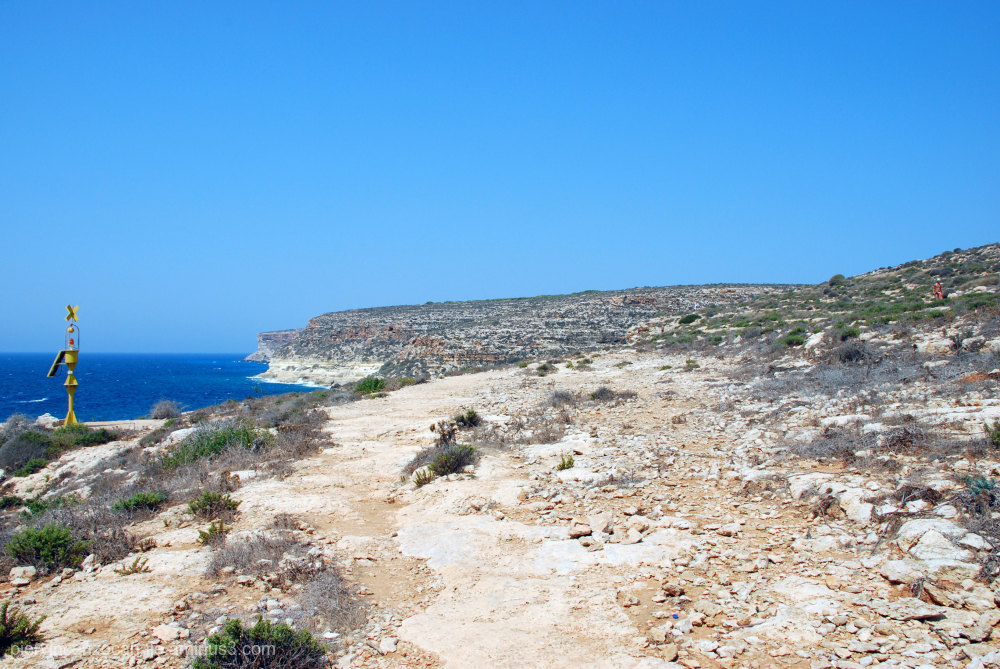 Panorama with horizon from Lampedusa, Italy.