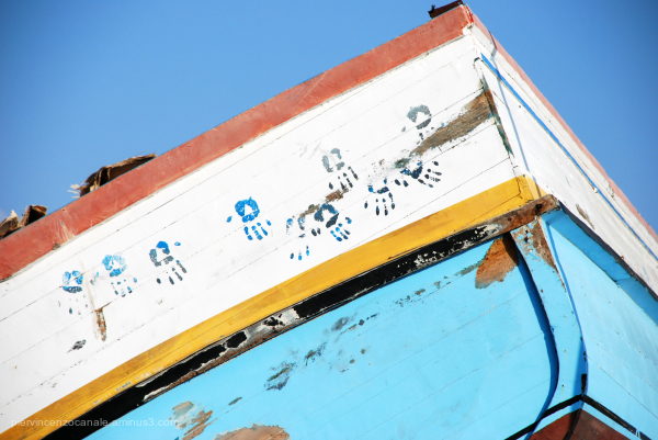 Close-up over a broken boat. Lampedusa, Italy.