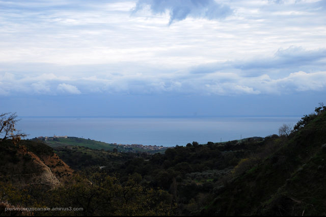 Seascape and landscape from Riace, Italy.