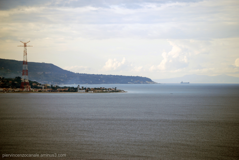 A panorama of the Detroit of Messina, Italy.