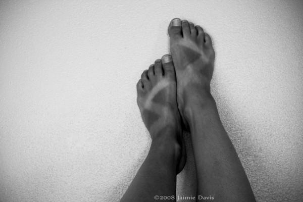 black and white feet