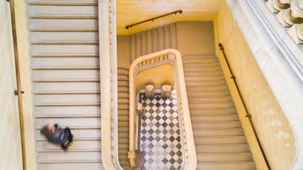 Les escaliers du palais st Pierre
