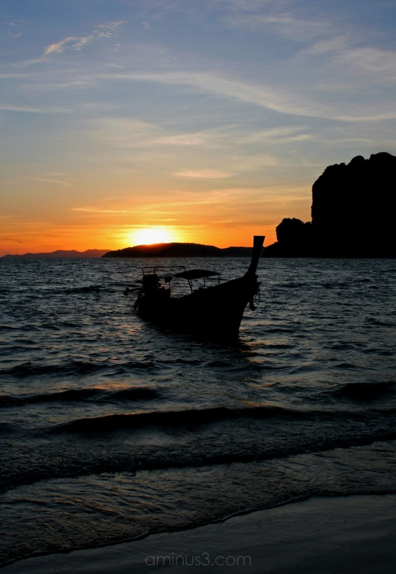Longtail at sunset, Railay, Thailand