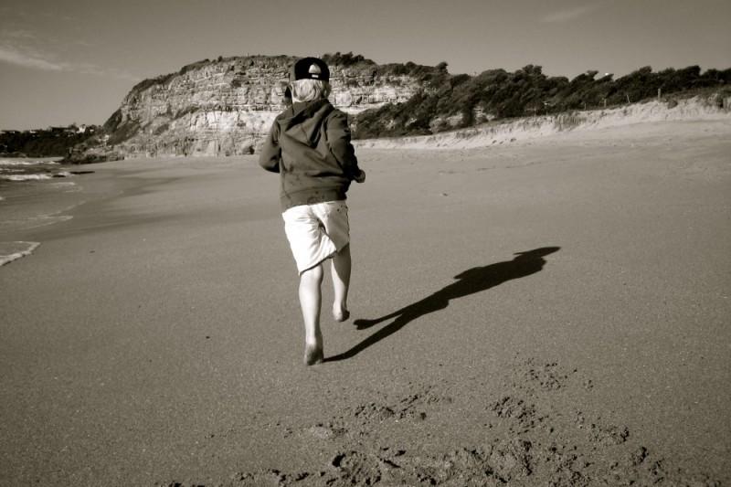 Huon running, Mona Vale Beach, Sydney'