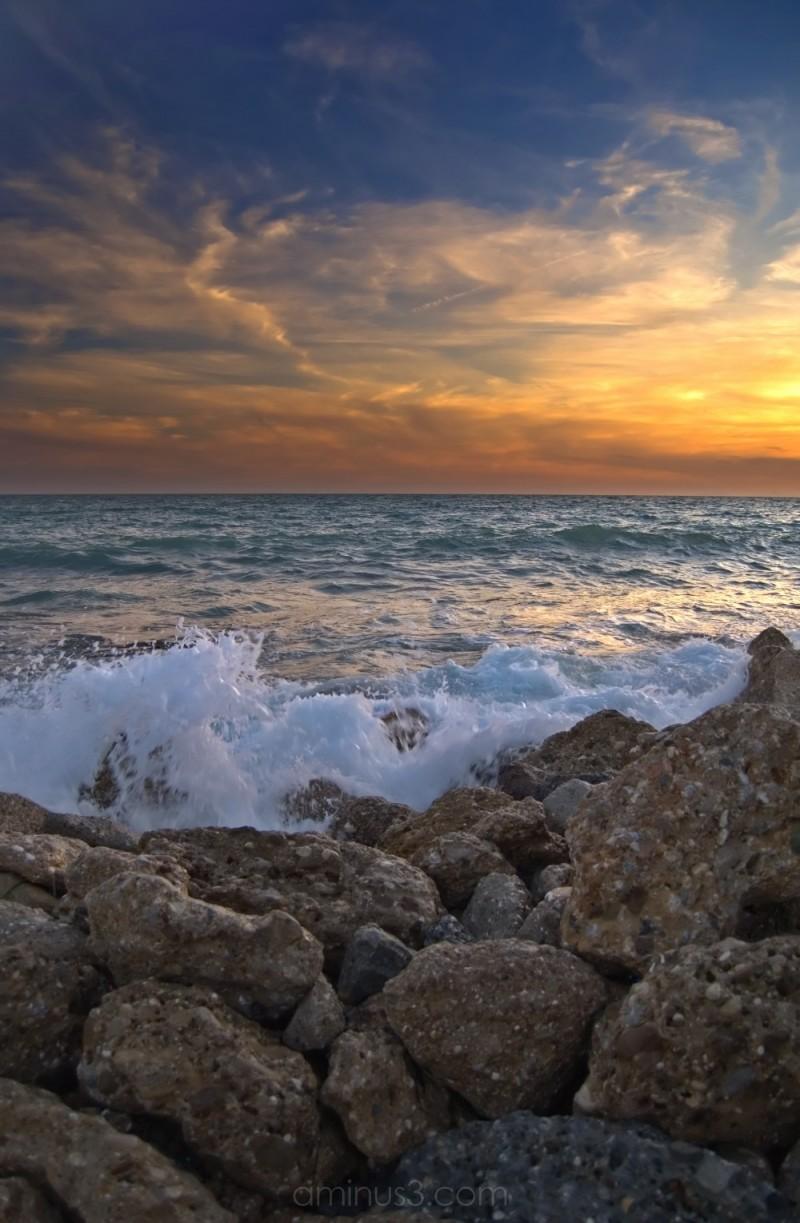 Beautiful sunset on the Mediterranean Sea