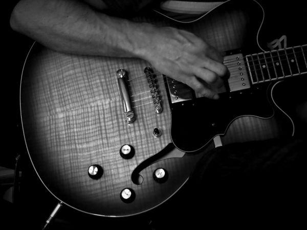 music guitar hand b&w