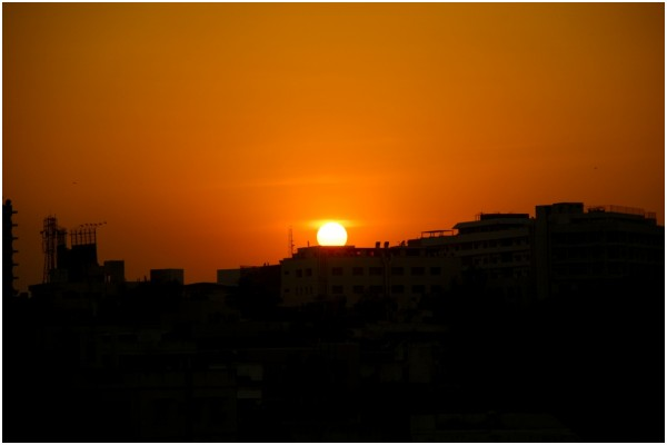 Sunset over Hyderabad