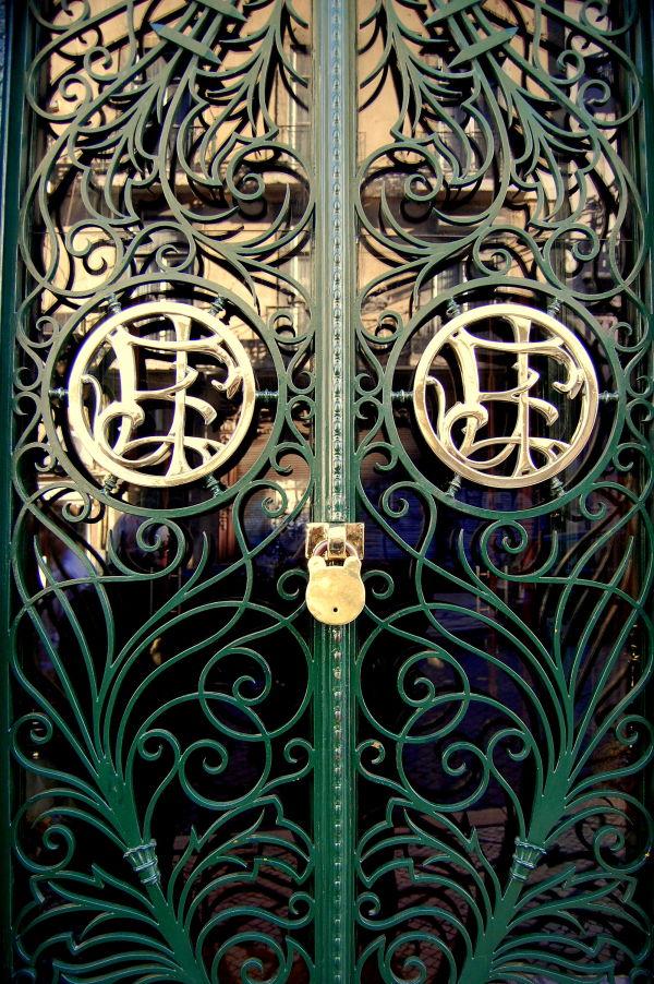 Gold lock on the green door