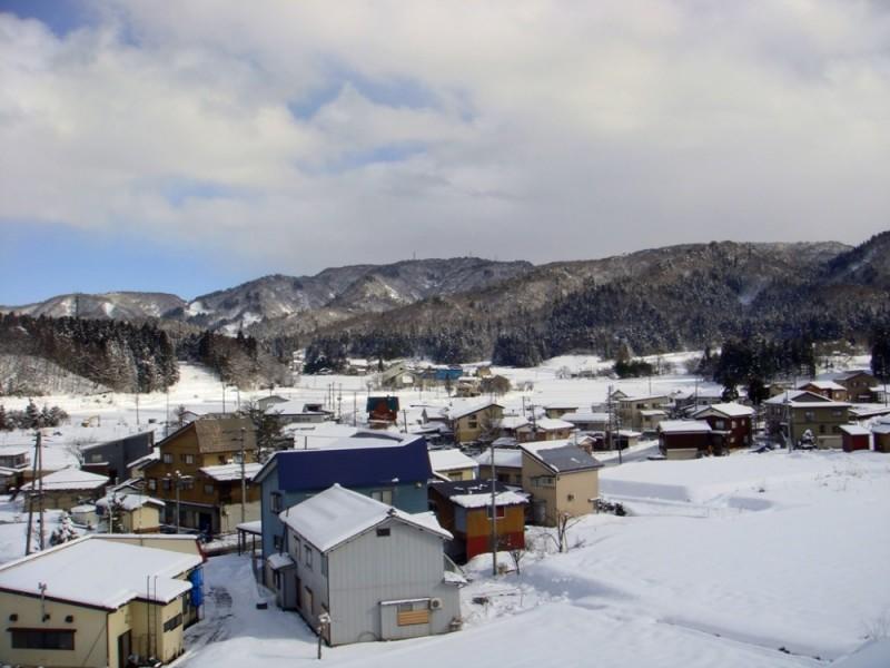 Snowing village