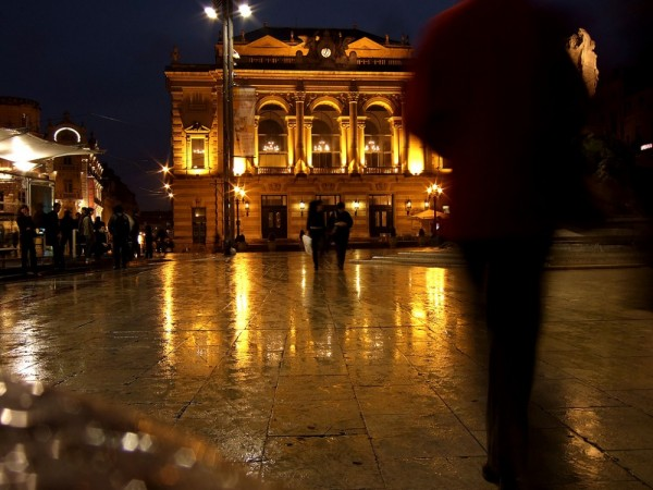 Night image of the Comedie, Montpellier, France.