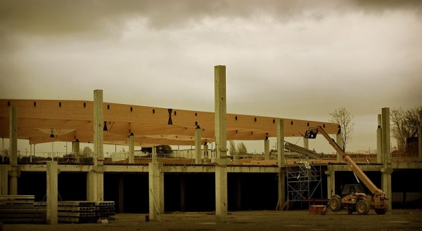 Frame of new building in France.