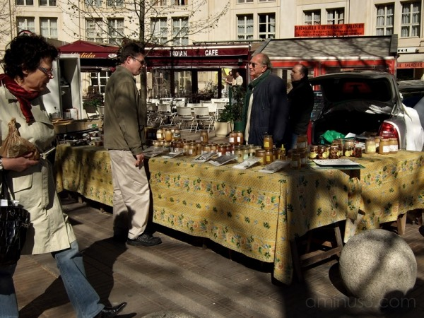 Honey for sale in open market, south of France.